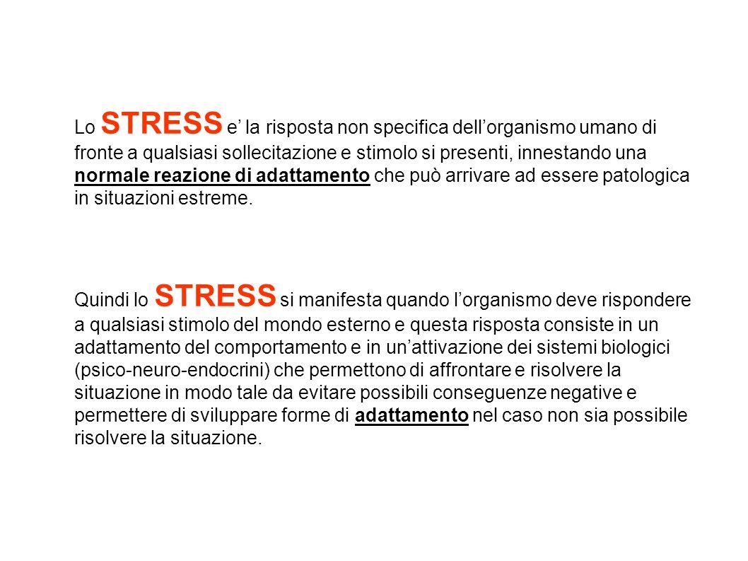 Lo STRESS e' la risposta non specifica dell'organismo umano di fronte a qualsiasi sollecitazione e stimolo si presenti, innestando una normale reazion