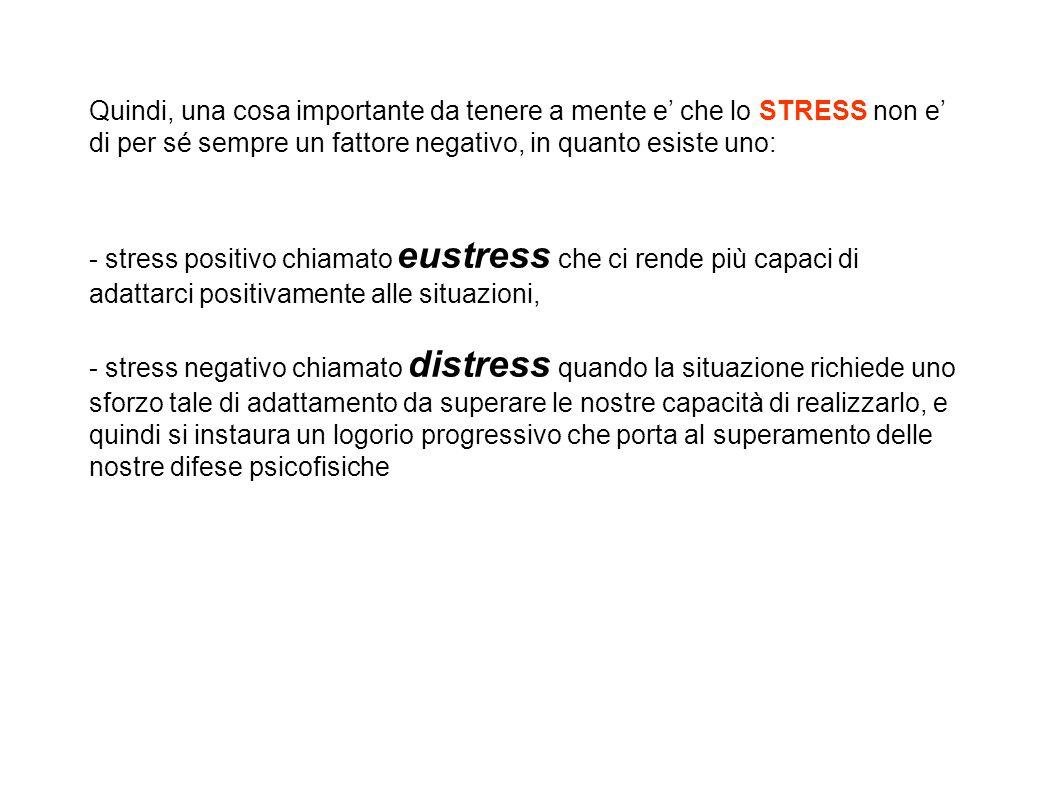Quindi, una cosa importante da tenere a mente e' che lo STRESS non e' di per sé sempre un fattore negativo, in quanto esiste uno: - stress positivo ch