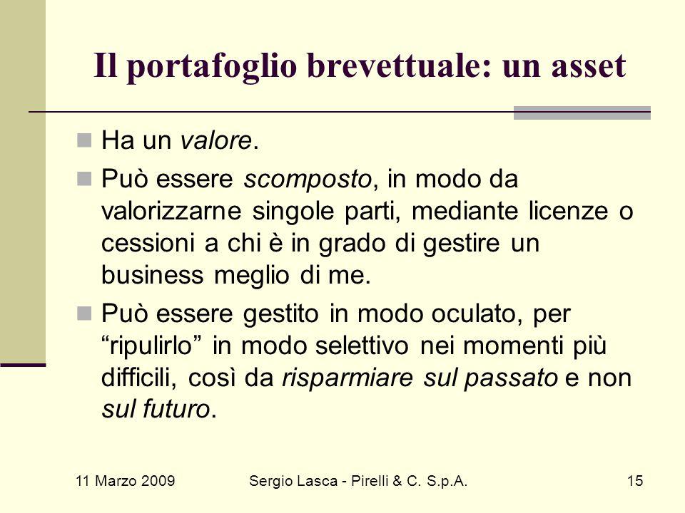 11 Marzo 2009 Sergio Lasca - Pirelli & C. S.p.A.15 Il portafoglio brevettuale: un asset Ha un valore. Può essere scomposto, in modo da valorizzarne si