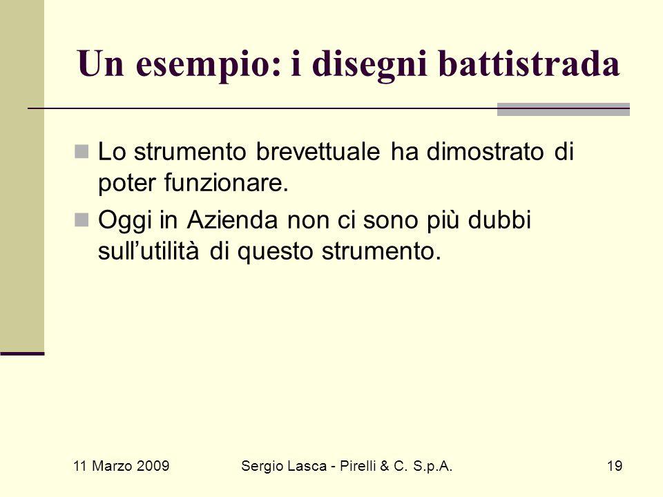 11 Marzo 2009 Sergio Lasca - Pirelli & C. S.p.A.19 Lo strumento brevettuale ha dimostrato di poter funzionare. Oggi in Azienda non ci sono più dubbi s
