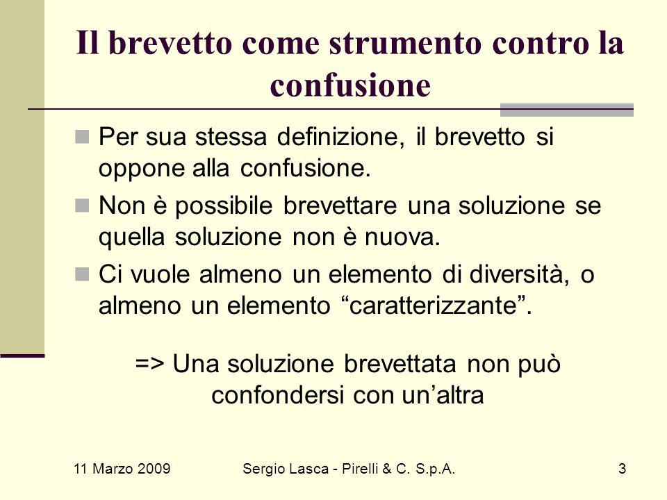 11 Marzo 2009 Sergio Lasca - Pirelli & C. S.p.A.3 Il brevetto come strumento contro la confusione Per sua stessa definizione, il brevetto si oppone al