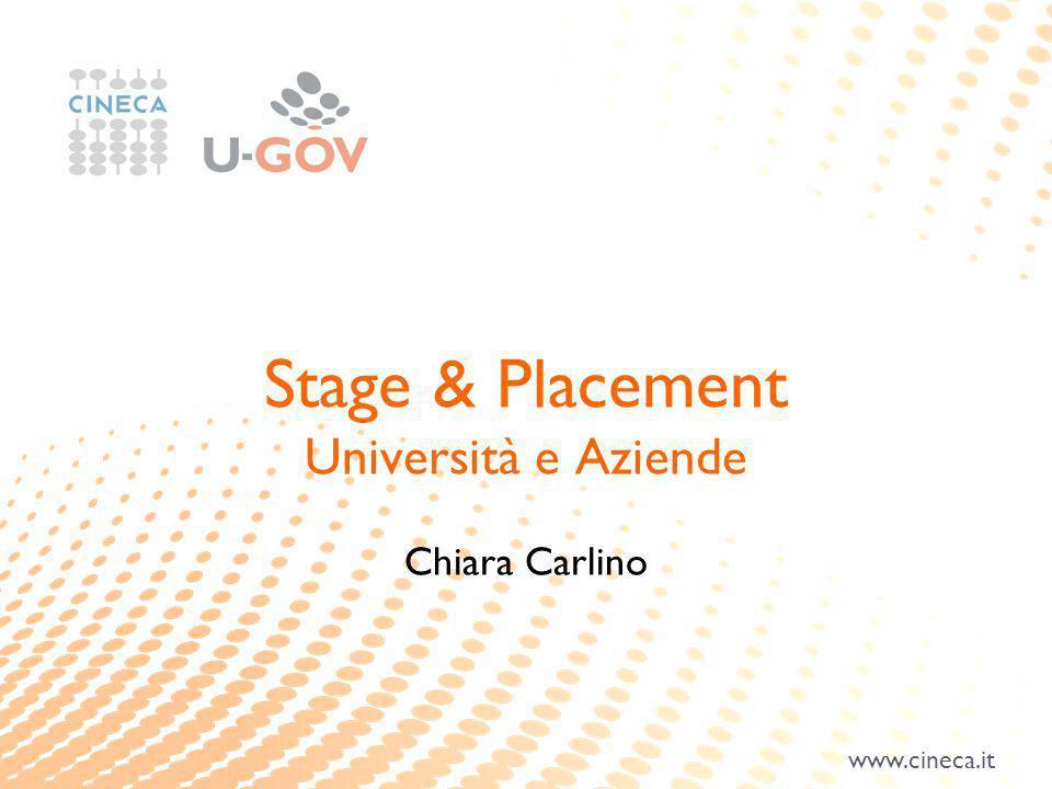 www.cineca.it Stage & Placement Università e Aziende Chiara Carlino