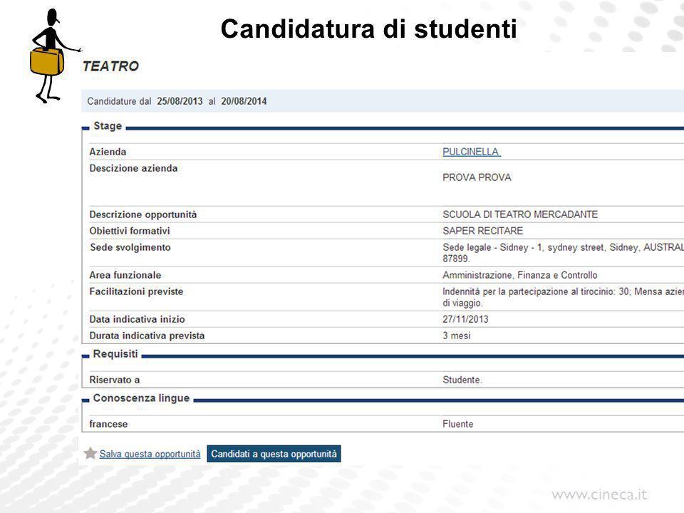 www.cineca.it Candidatura di studenti