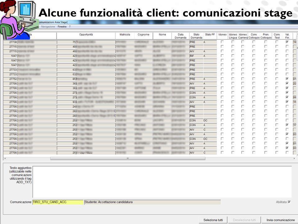www.cineca.it Alcune funzionalità client: comunicazioni stage