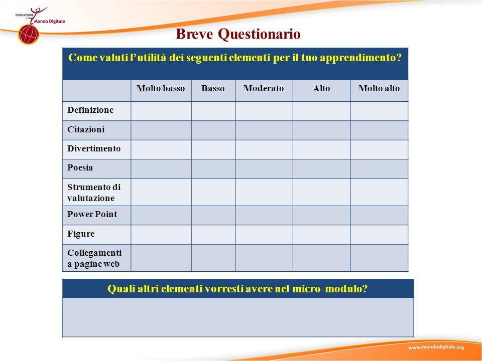Breve Questionario Come valuti l'utilità dei seguenti elementi per il tuo apprendimento? Molto bassoBassoModeratoAltoMolto alto Definizione Citazioni