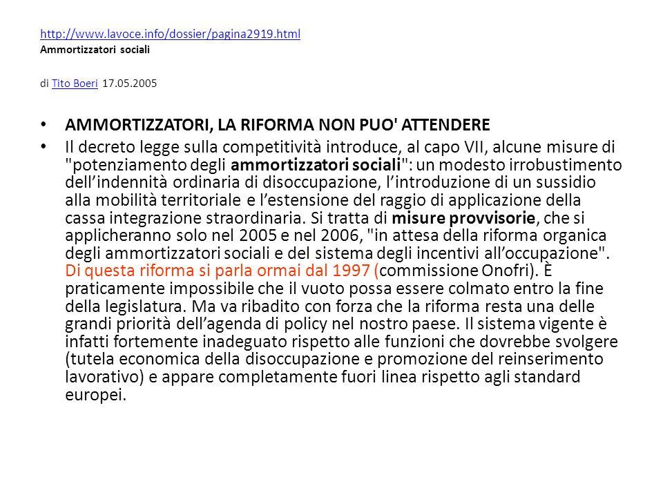 http://www.lavoce.info/dossier/pagina2919.html http://www.lavoce.info/dossier/pagina2919.html Ammortizzatori sociali di Tito Boeri 17.05.2005Tito Boer