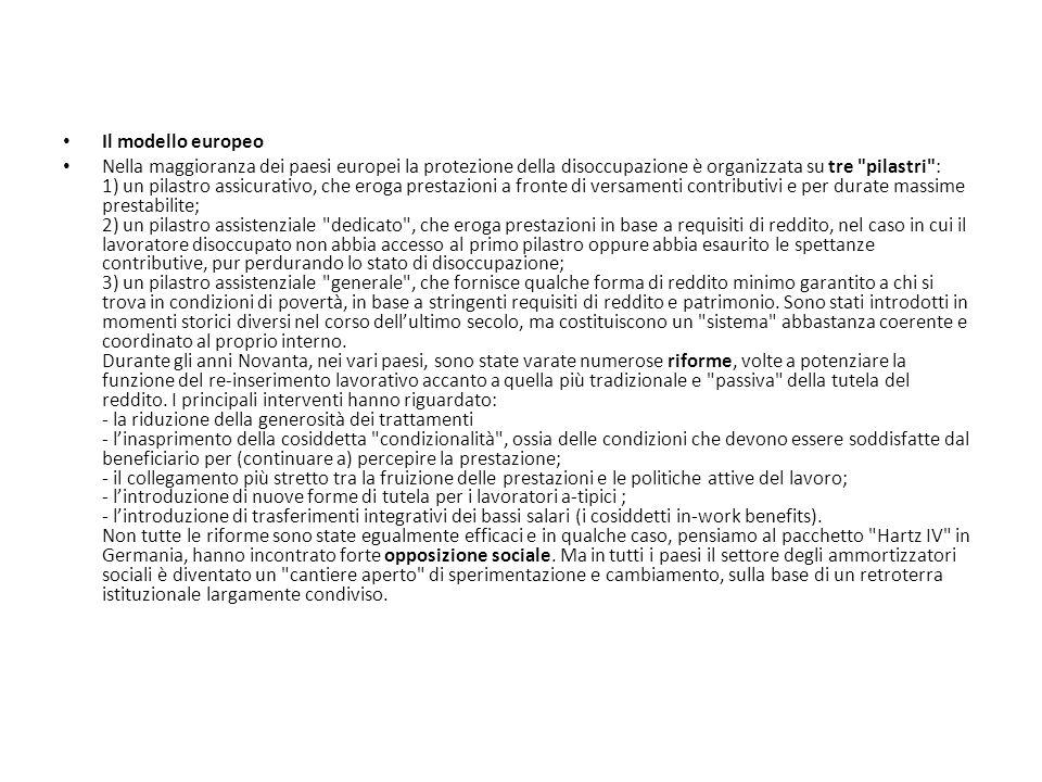 Il modello europeo Nella maggioranza dei paesi europei la protezione della disoccupazione è organizzata su tre