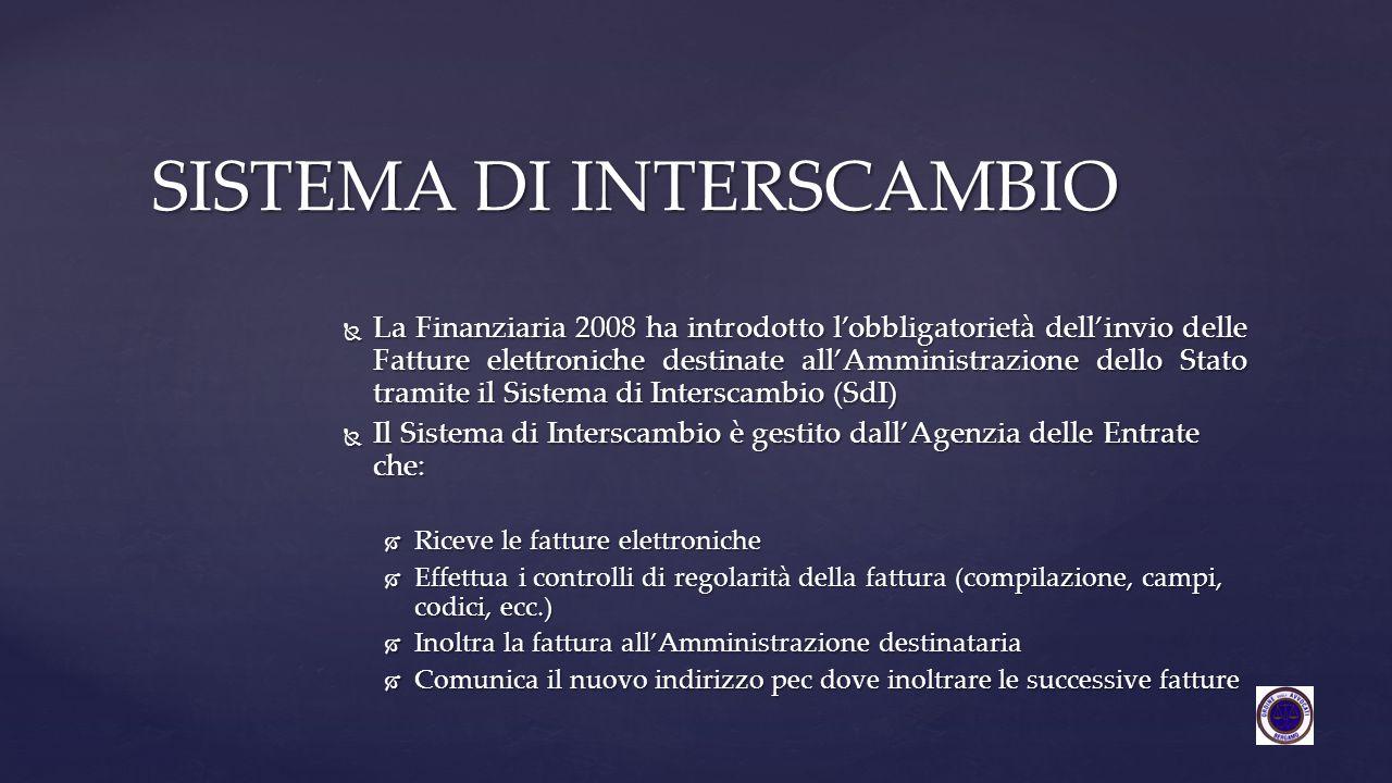  La Finanziaria 2008 ha introdotto l'obbligatorietà dell'invio delle Fatture elettroniche destinate all'Amministrazione dello Stato tramite il Sistem