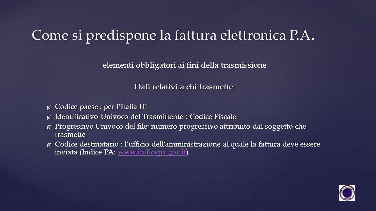 elementi obbligatori ai fini della trasmissione Dati relativi a chi trasmette:  Codice paese : per l'Italia IT  Identificativo Univoco del Trasmitte
