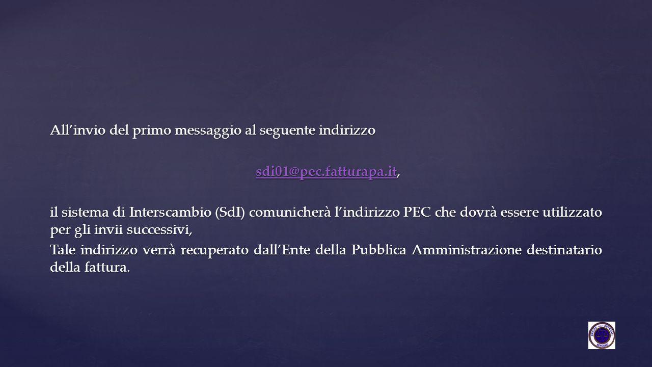 All'invio del primo messaggio al seguente indirizzo sdi01@pec.fatturapa.it, sdi01@pec.fatturapa.it,sdi01@pec.fatturapa.it il sistema di Interscambio (