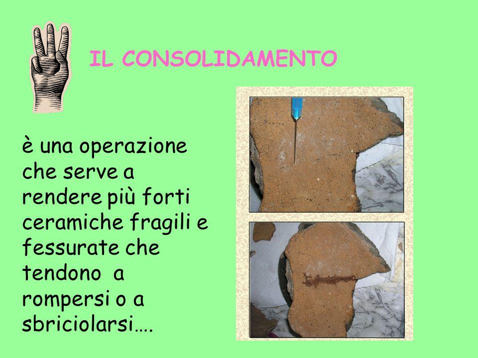 IL CONSOLIDAMENTO è una operazione che serve a rendere più forti ceramiche fragili e fessurate che tendono a rompersi o a sbriciolarsi….