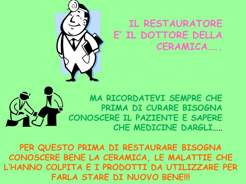 IL RESTAURATORE E' IL DOTTORE DELLA CERAMICA…..