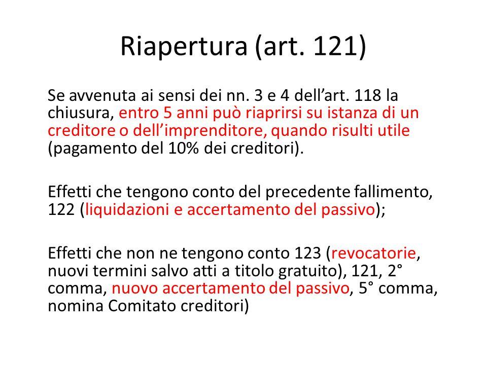 Riapertura (art. 121) Se avvenuta ai sensi dei nn.