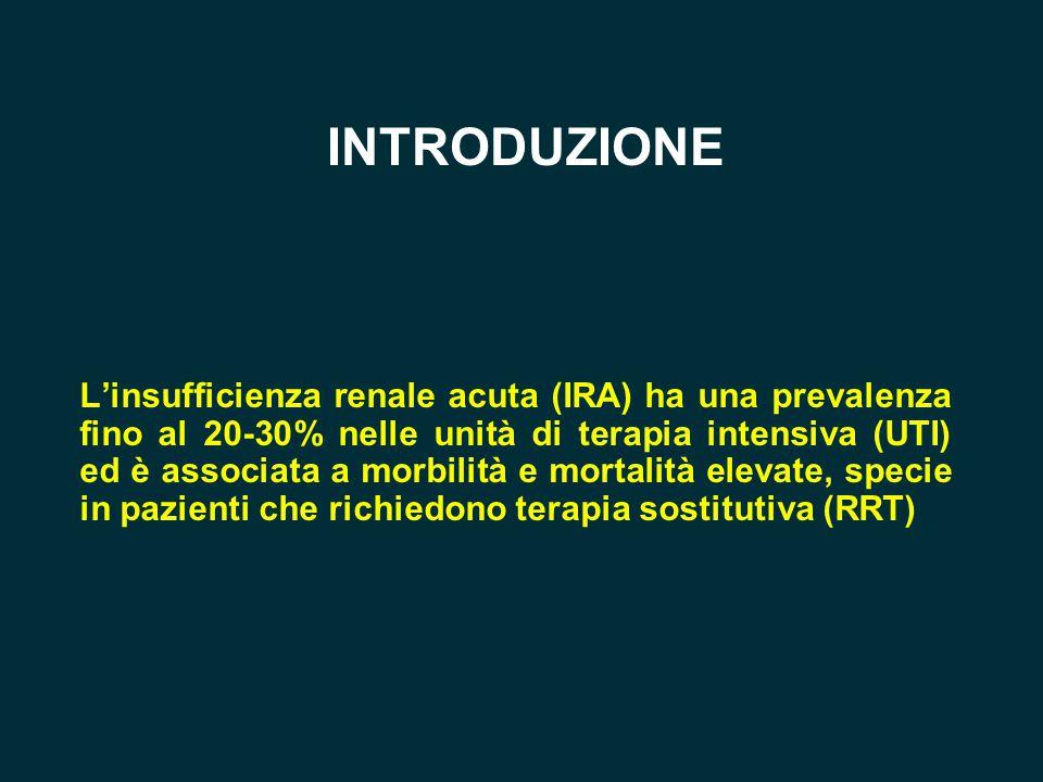 INTRODUZIONE L'insufficienza renale acuta (IRA) ha una prevalenza fino al 20-30% nelle unità di terapia intensiva (UTI) ed è associata a morbilità e m