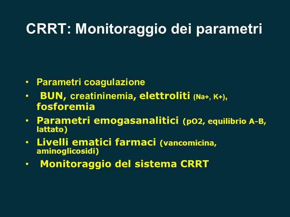 CRRT: Monitoraggio dei parametri Parametri coagulazione BUN, creatininemia, elettroliti (Na+, K+), fosforemia Parametri emogasanalitici (pO2, equilibr