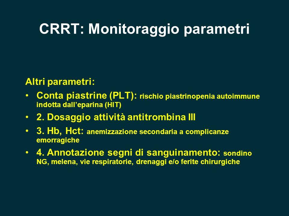 CRRT: Monitoraggio parametri Altri parametri: Conta piastrine (PLT): rischio piastrinopenia autoimmune indotta dall'eparina (HIT) 2. Dosaggio attività
