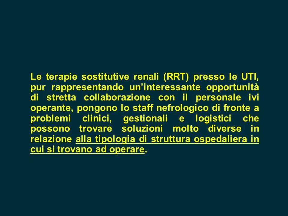 Le terapie sostitutive renali (RRT) presso le UTI, pur rappresentando un'interessante opportunità di stretta collaborazione con il personale ivi opera