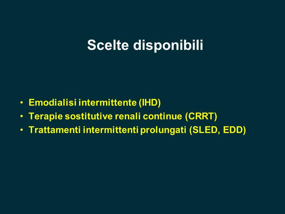Scelte disponibili Emodialisi intermittente (IHD) Terapie sostitutive renali continue (CRRT) Trattamenti intermittenti prolungati (SLED, EDD)