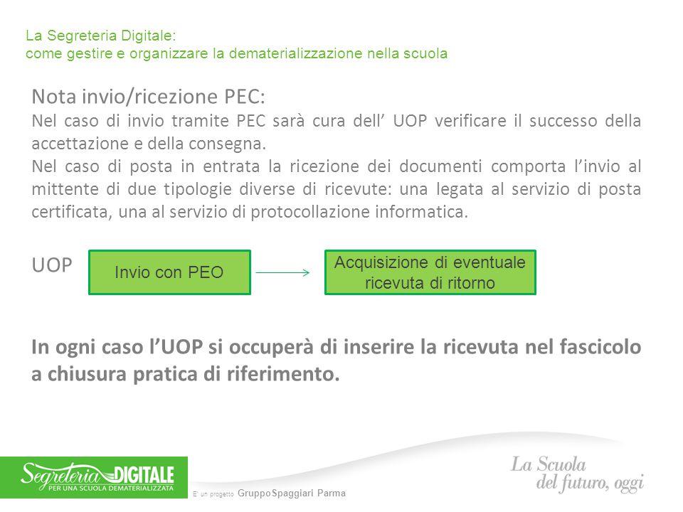 E' un progetto GruppoSpaggiari Parma La Segreteria Digitale: come gestire e organizzare la dematerializzazione nella scuola Nota invio/ricezione PEC: