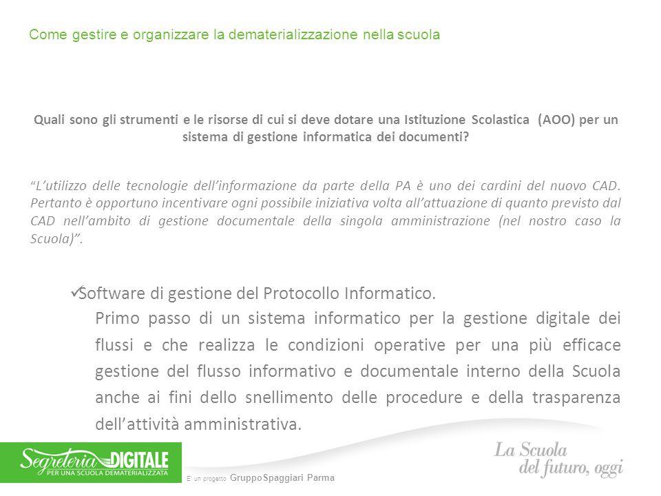 E' un progetto GruppoSpaggiari Parma Come gestire e organizzare la dematerializzazione nella scuola D OCUMENTI IN ENTRATA UOP UOP DIRIGENTE SCOLASTICO (Attraverso l'autorizzazione all'accesso da parte del DS tramite il sistema.