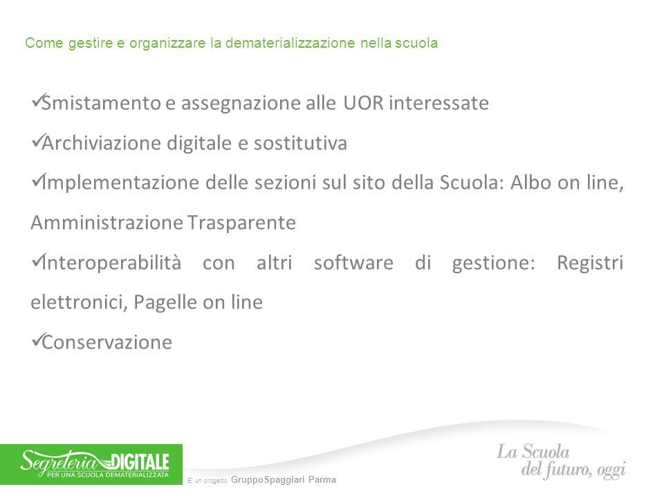E' un progetto GruppoSpaggiari Parma Come gestire e organizzare la dematerializzazione nella scuola Smistamento e assegnazione alle UOR interessate Ar