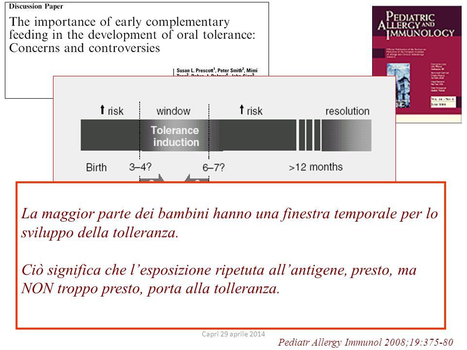 Pediatr Allergy Immunol 2008;19:375-80 La maggior parte dei bambini hanno una finestra temporale per lo sviluppo della tolleranza.