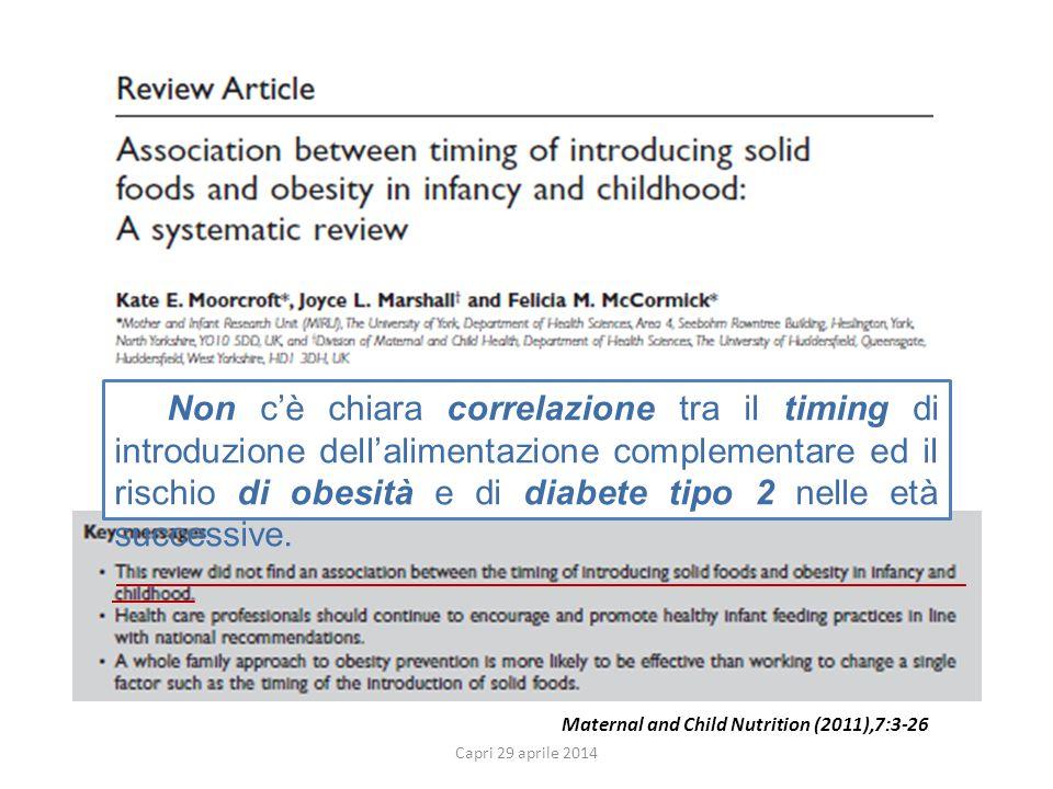 Maternal and Child Nutrition (2011),7:3-26 Non c'è chiara correlazione tra il timing di introduzione dell'alimentazione complementare ed il rischio di obesità e di diabete tipo 2 nelle età successive.