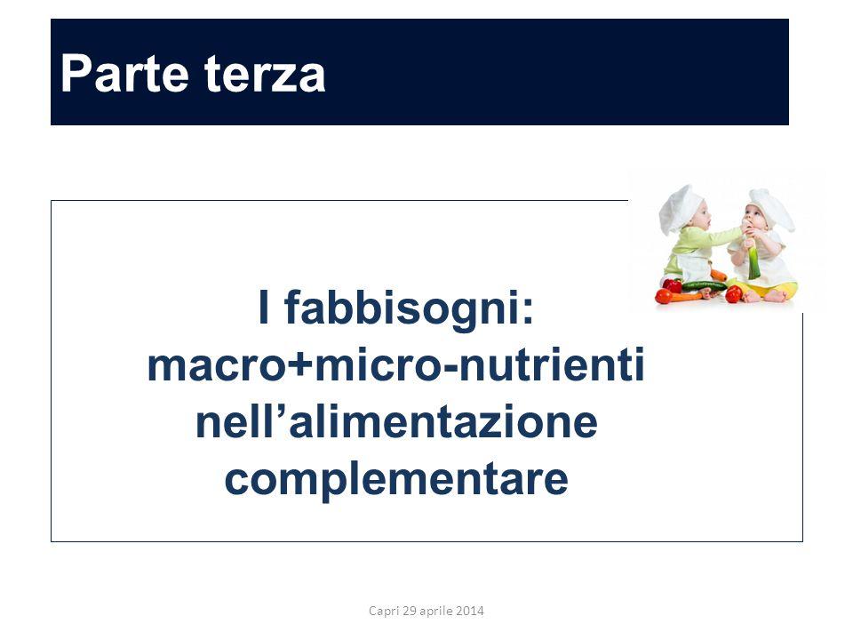Parte terza Allergia ed alimentazione complementare Capri 29 aprile 2014 I fabbisogni: macro+micro-nutrienti nell'alimentazione complementare