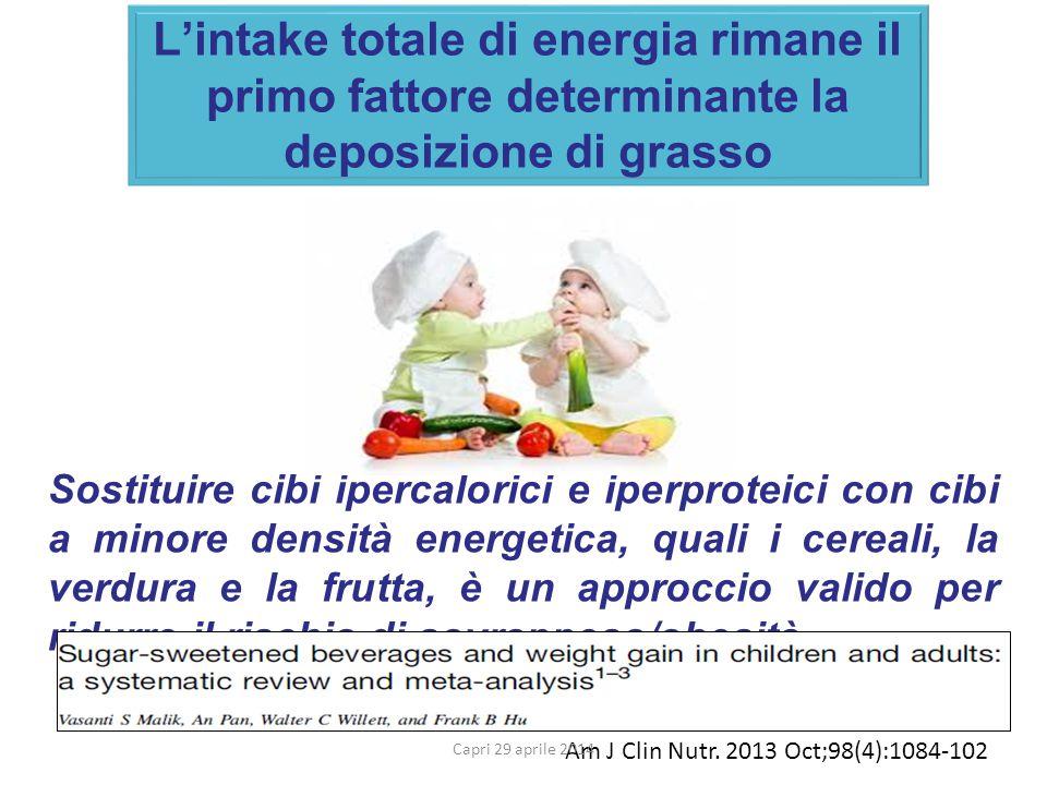 L'intake totale di energia rimane il primo fattore determinante la deposizione di grasso Sostituire cibi ipercalorici e iperproteici con cibi a minore