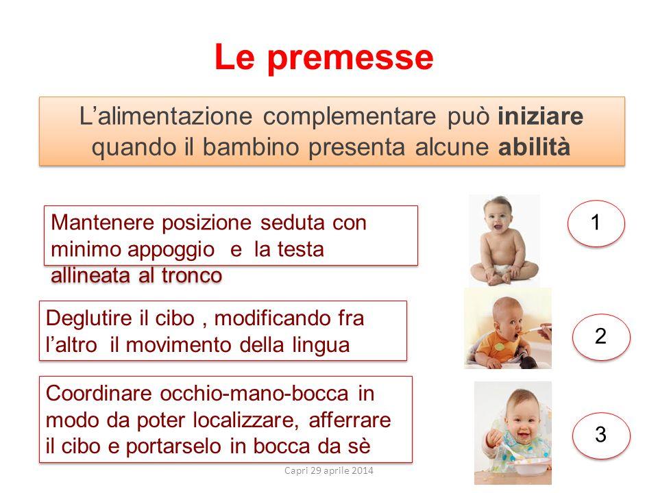 Le premesse Capri 29 aprile 2014 L'alimentazione complementare può iniziare quando il bambino presenta alcune abilità Mantenere posizione seduta con m