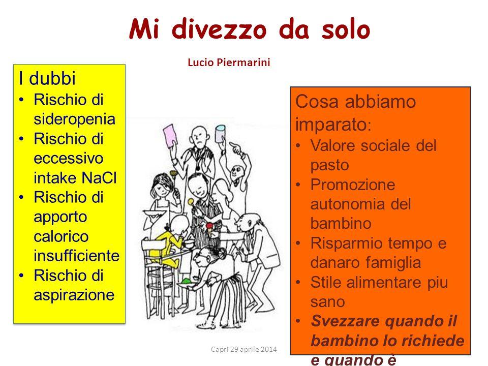 Mi divezzo da solo Lucio Piermarini Capri 29 aprile 2014 Cosa abbiamo imparato : Valore sociale del pasto Promozione autonomia del bambino Risparmio t