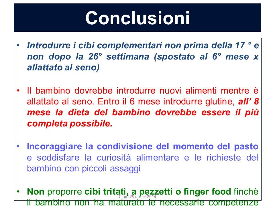 Conclusioni Introdurre i cibi complementari non prima della 17 ° e non dopo la 26° settimana (spostato al 6° mese x allattato al seno) Il bambino dovr
