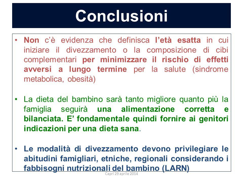 Conclusioni Non c'è evidenza che definisca l'età esatta in cui iniziare il divezzamento o la composizione di cibi complementari per minimizzare il ris