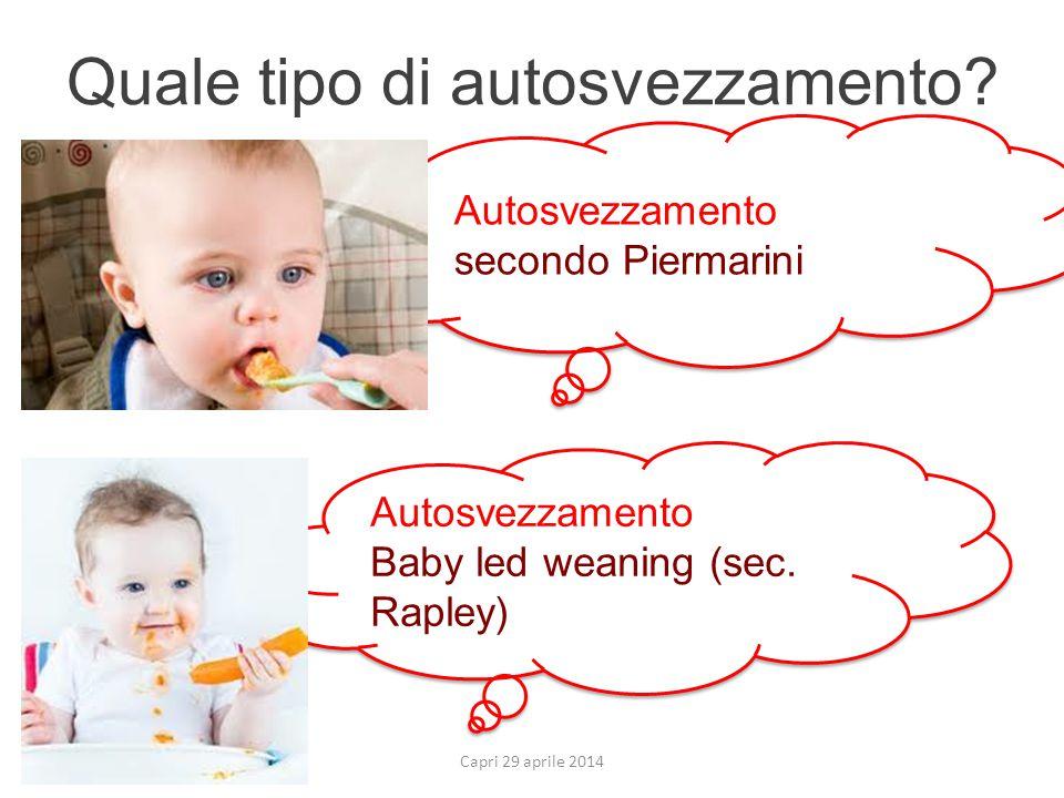 Quale tipo di autosvezzamento? Capri 29 aprile 2014 Autosvezzamento Baby led weaning (sec. Rapley) Autosvezzamento Baby led weaning (sec. Rapley) Auto