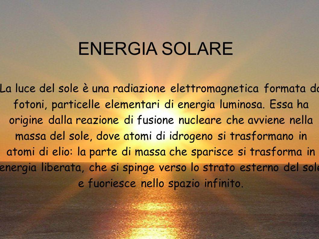 La luce del sole è una radiazione elettromagnetica formata da fotoni, particelle elementari di energia luminosa. Essa ha origine dalla reazione di fus