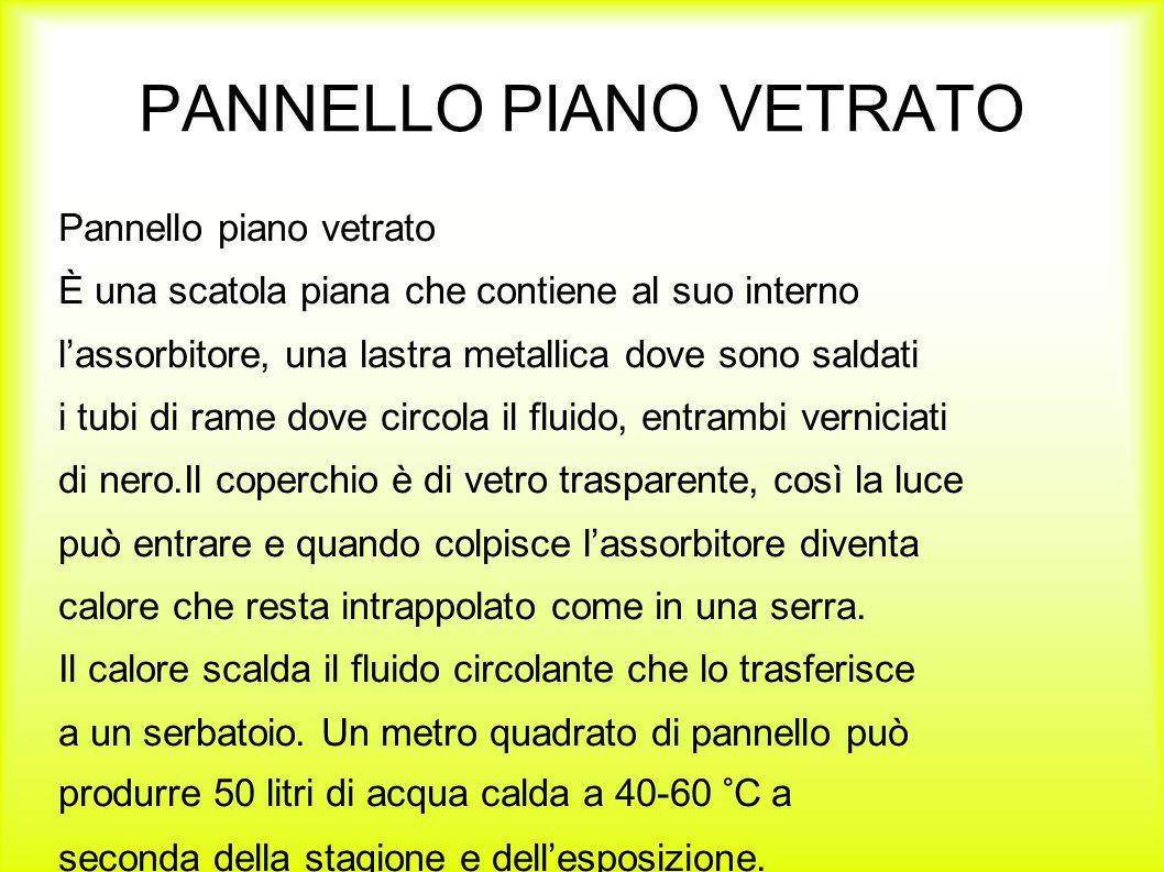 PANNELLO PIANO VETRATO Pannello piano vetrato È una scatola piana che contiene al suo interno l'assorbitore, una lastra metallica dove sono saldati i
