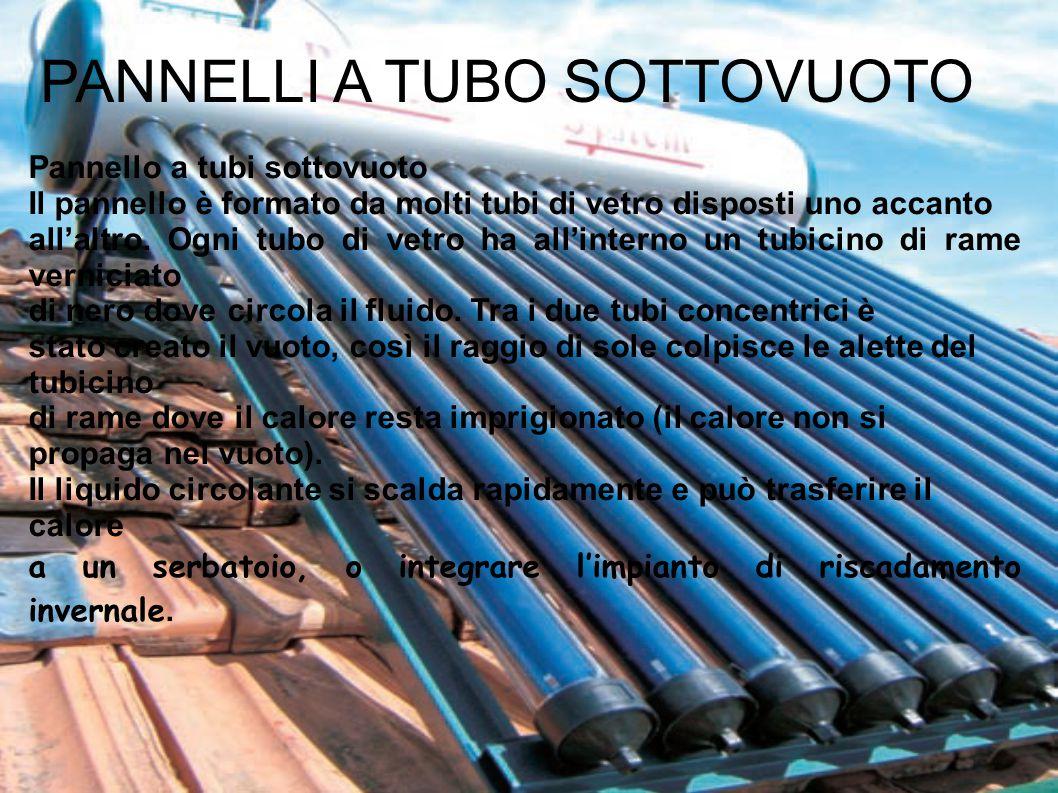 Pannello a tubi sottovuoto Il pannello è formato da molti tubi di vetro disposti uno accanto all'altro. Ogni tubo di vetro ha all'interno un tubicino
