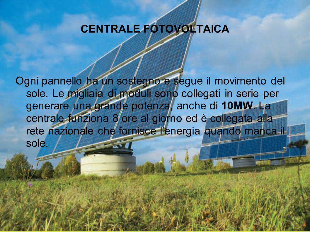 CENTRALE FOTOVOLTAICA Ogni pannello ha un sostegno e segue il movimento del sole. Le migliaia di moduli sono collegati in serie per generare una grand