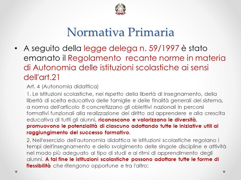 Normativa Primaria A seguito della legge delega n. 59/1997 è stato emanato il Regolamento recante norme in materia di Autonomia delle istituzioni scol