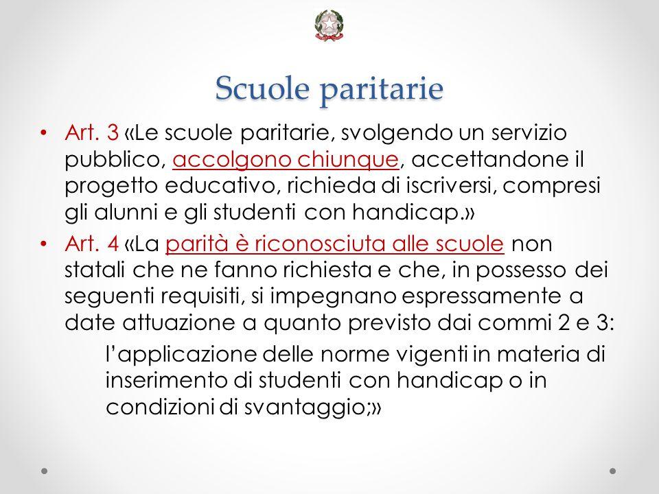 Scuole paritarie Art. 3 «Le scuole paritarie, svolgendo un servizio pubblico, accolgono chiunque, accettandone il progetto educativo, richieda di iscr
