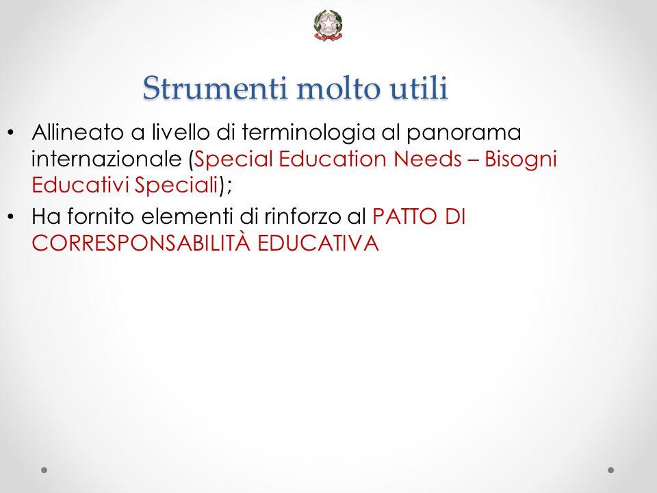 Strumenti molto utili Allineato a livello di terminologia al panorama internazionale (Special Education Needs – Bisogni Educativi Speciali); Ha fornit