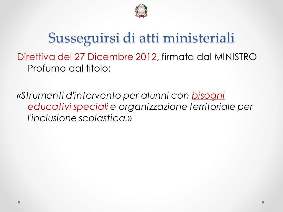 Susseguirsi di atti ministeriali Direttiva del 27 Dicembre 2012, firmata dal MINISTRO Profumo dal titolo: «Strumenti d'intervento per alunni con bisog