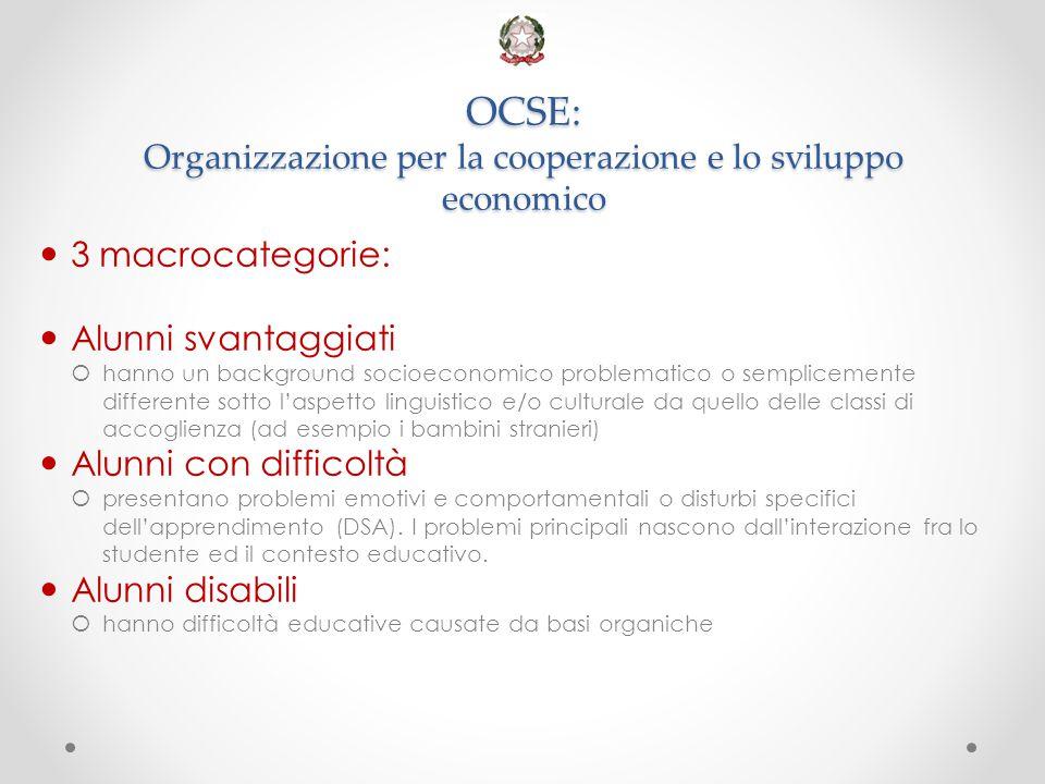 OCSE: Organizzazione per la cooperazione e lo sviluppo economico 3 macrocategorie: Alunni svantaggiati  hanno un background socioeconomico problemati