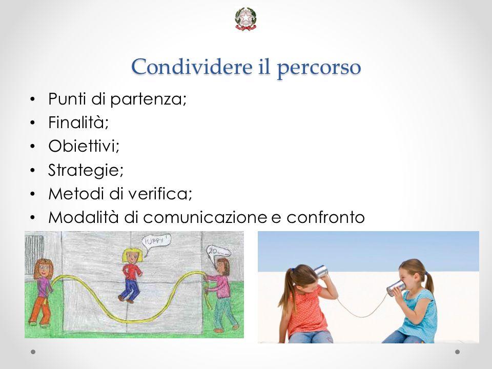 Condividere il percorso Punti di partenza; Finalità; Obiettivi; Strategie; Metodi di verifica; Modalità di comunicazione e confronto