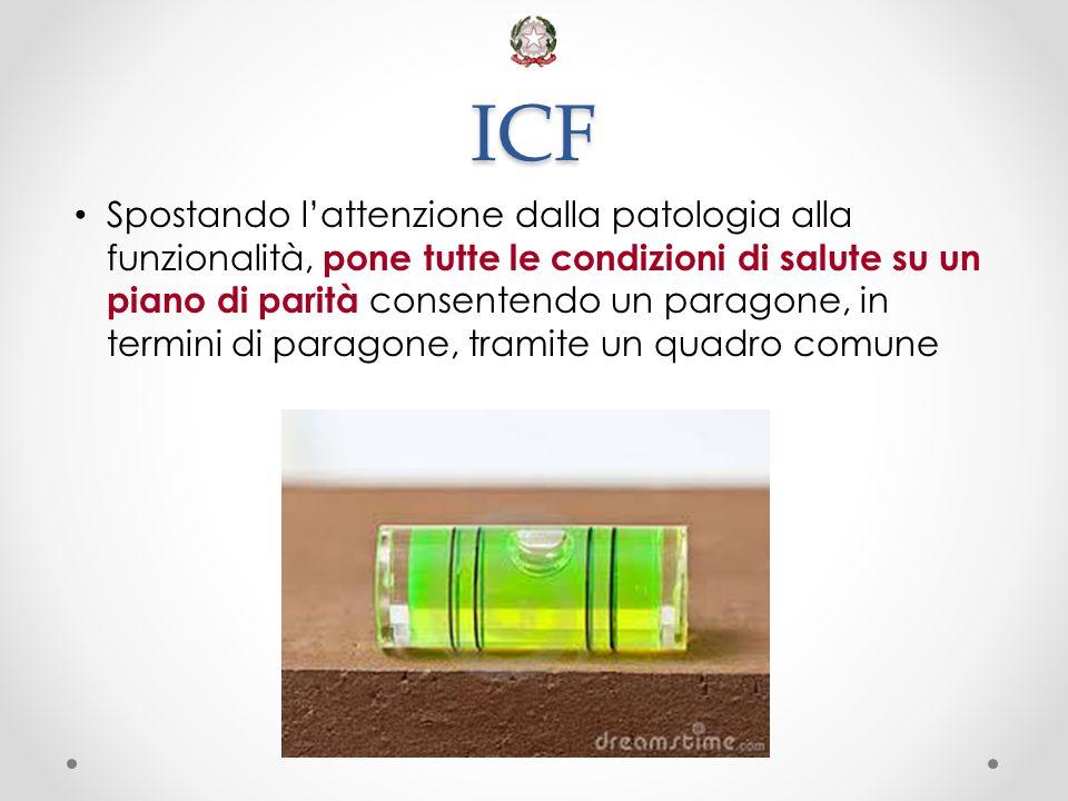 ICF Spostando l'attenzione dalla patologia alla funzionalità, pone tutte le condizioni di salute su un piano di parità consentendo un paragone, in ter