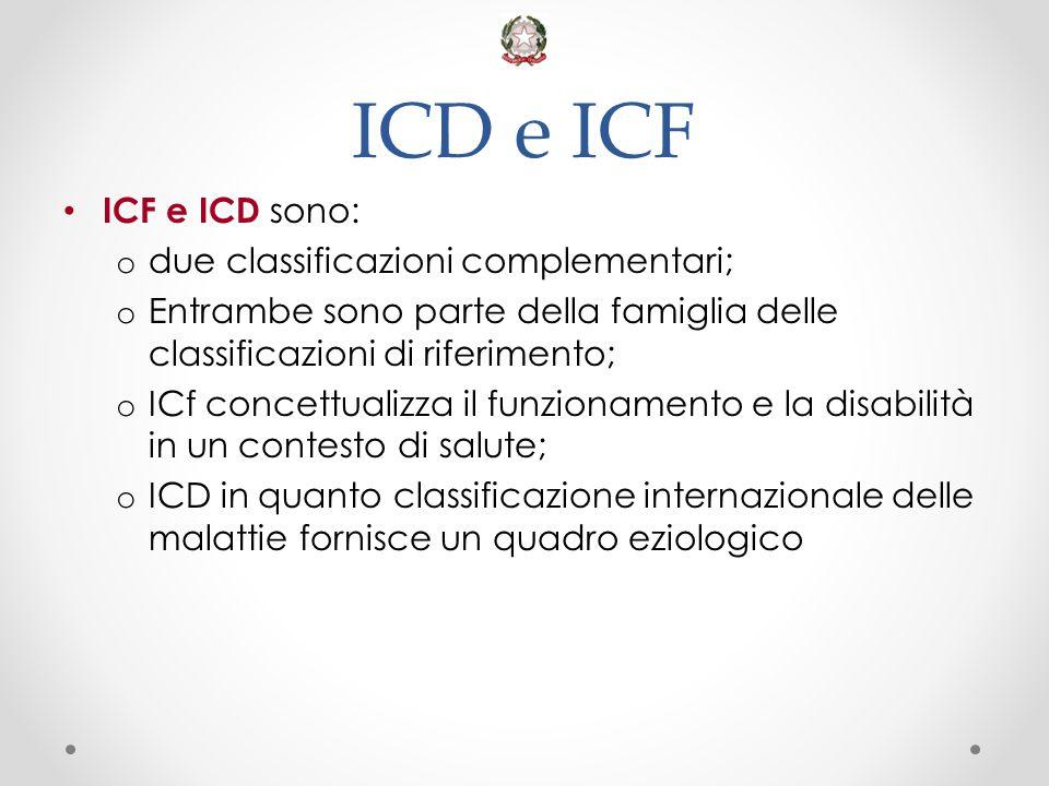 ICD e ICF ICF e ICD sono: o due classificazioni complementari; o Entrambe sono parte della famiglia delle classificazioni di riferimento; o ICf concet