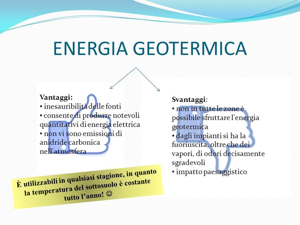 ENERGIA GEOTERMICA Vantaggi: inesauribilità delle fonti consente di produrre notevoli quantitativi di energia elettrica non vi sono emissioni di anidr