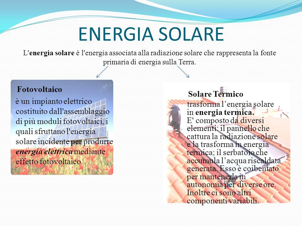 ENERGIA SOLARE Fotovoltaico è un impianto elettrico costituito dall'assemblaggio di più moduli fotovoltaici, i quali sfruttano l'energia solare incide