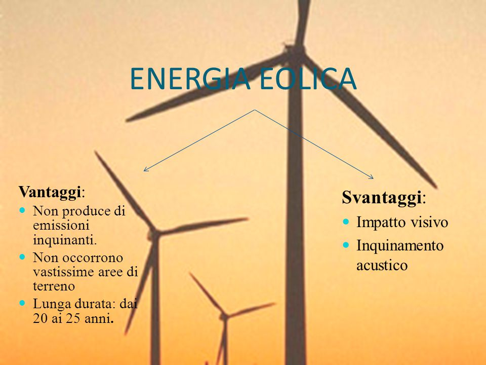 ENERGIA EOLICA Vantaggi: Non produce di emissioni inquinanti. Non occorrono vastissime aree di terreno Lunga durata: dai 20 ai 25 anni. Svantaggi: Imp