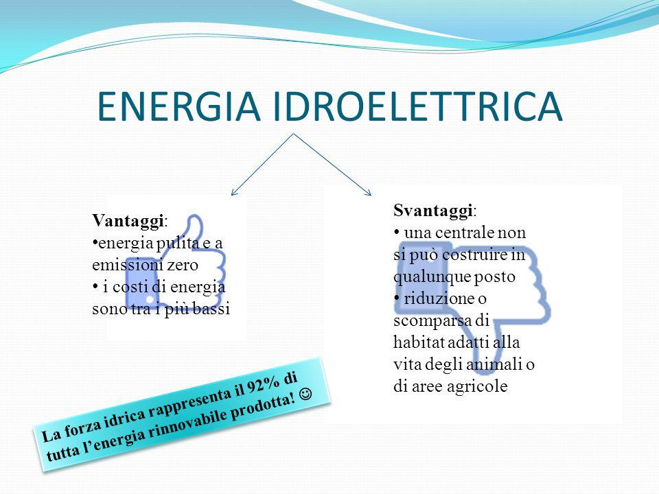 ENERGIA IDROELETTRICA Vantaggi: energia pulita e a emissioni zero i costi di energia sono tra i più bassi Svantaggi: una centrale non si può costruire